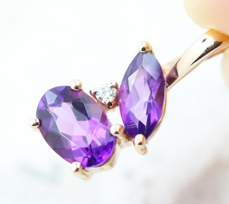14k Rose Gold Amethyst & Diamond Pendant - E12307 - G71