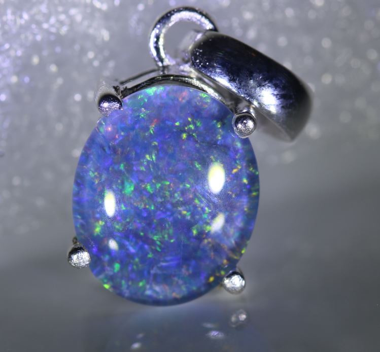 Australian Opal 1.80ct Platinum Finish Solid 925 Sterling Silver Pendant