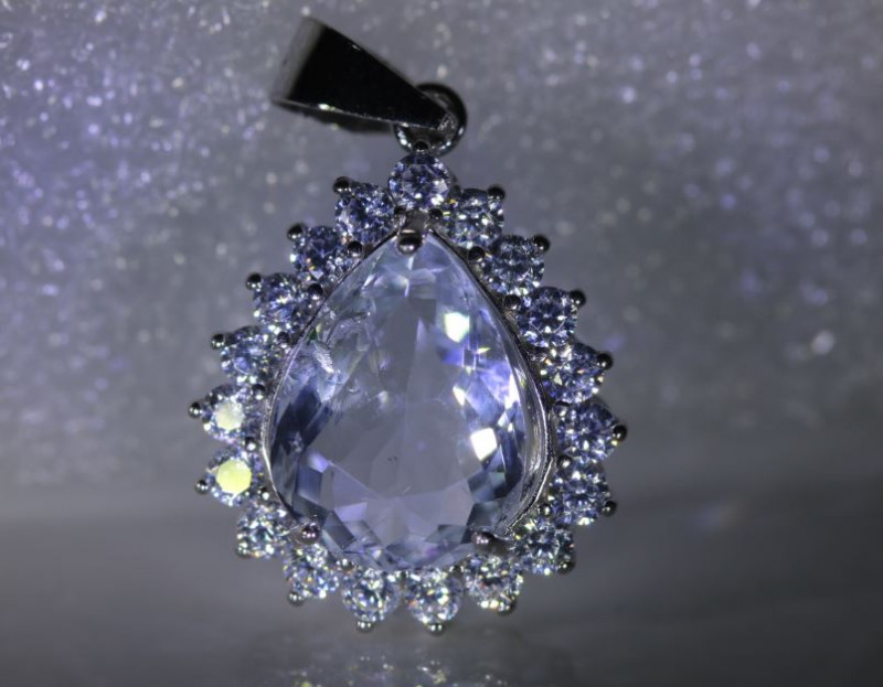 Aquamarine 3.28ct White Gold Finish Solid 925 Sterling Silver Pendant