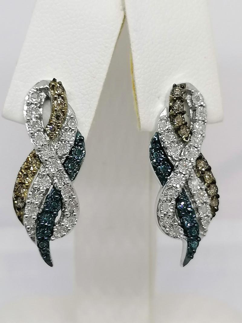 Multicoloured Diamond Earrings 0.33 TCW