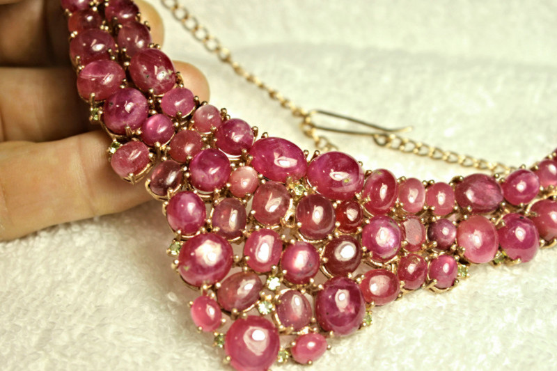 477.75 Tcw. Ruby, Sterling Silver, Gold Plated Necklace - Gorgeous