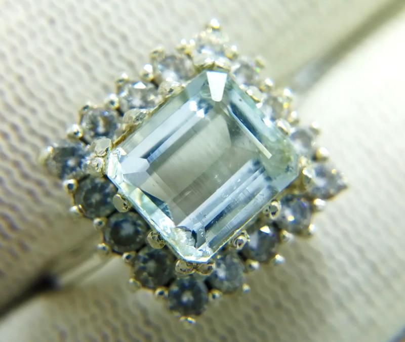 Natural Light Blue Aquamarine 925 Sterling Silver Ring
