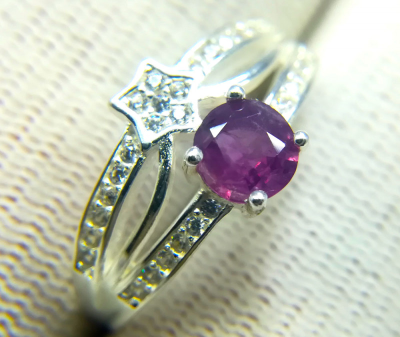 Natural Kashmiri Red Sapphire 925 Sterling Silver Ring
