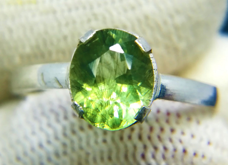 Natural Green Oval Peridot Sterling Silver Ring