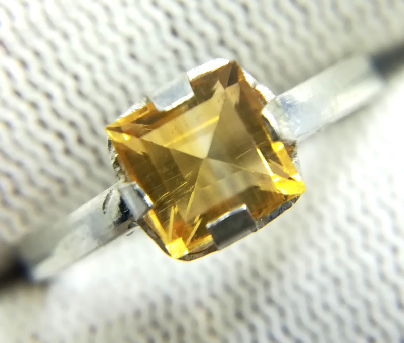Natural Yellow Citrine Sterling Silver Ring