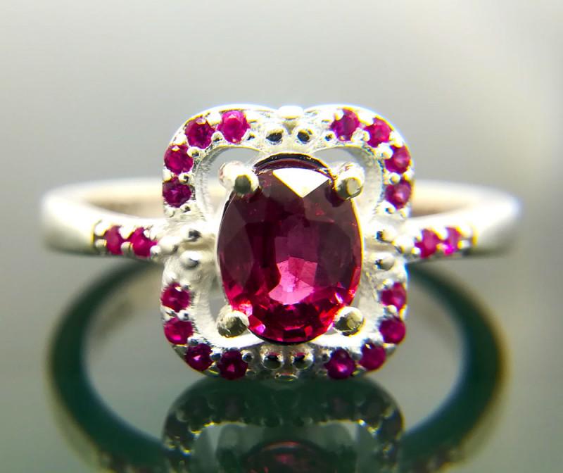 Natural Rhodolite Garnet 925 Sterling Silver Ring