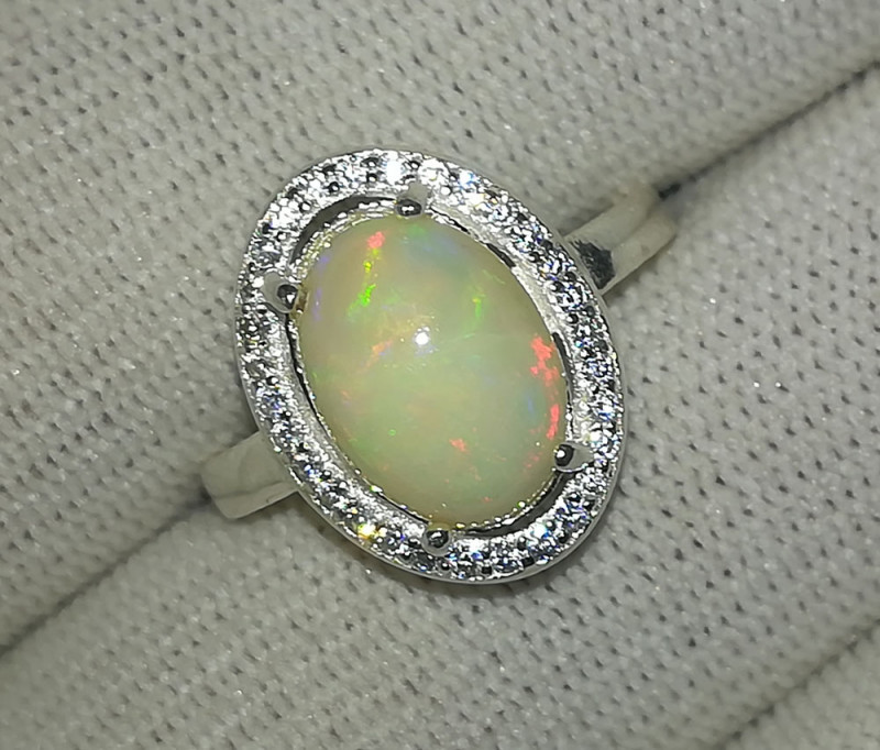 Natural Fire Opal 16.90 Carats 925 Silver Ring