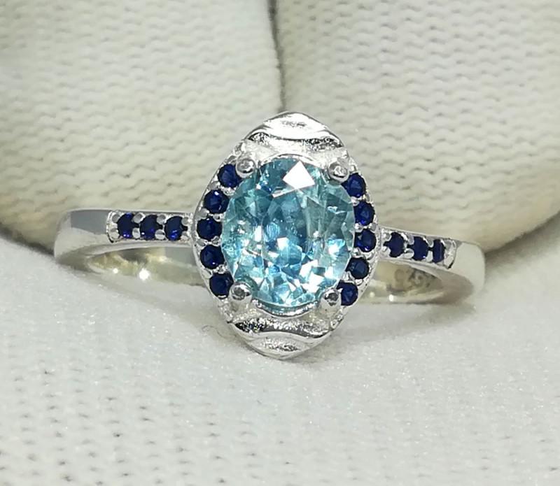 Natural Blue Zircon 18.70 Carats 925 Silver Ring