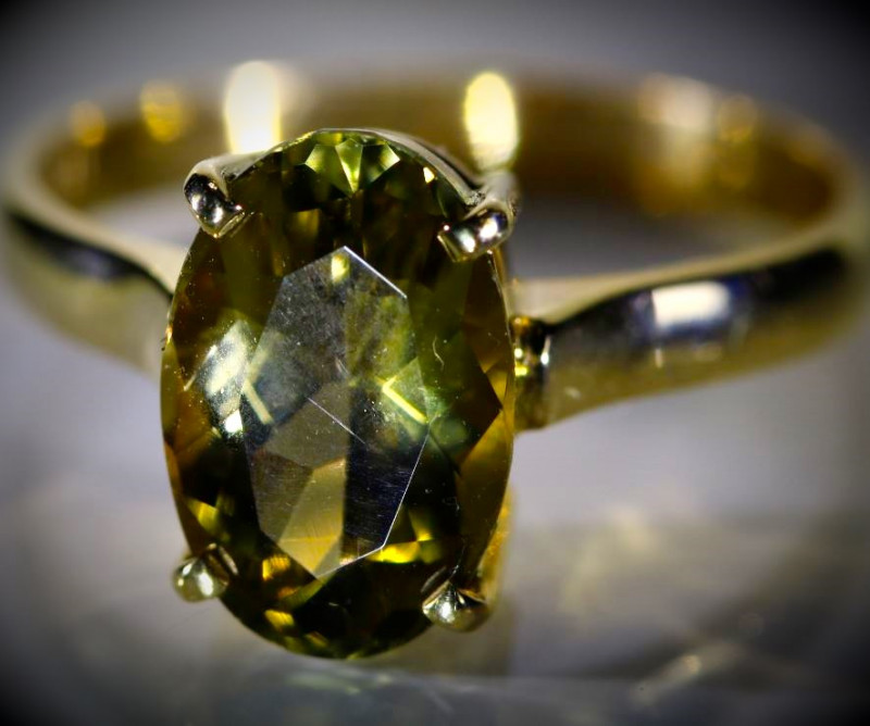 Yellow Zoisite 3.52ct Solid 18K Yellow Gold Ring