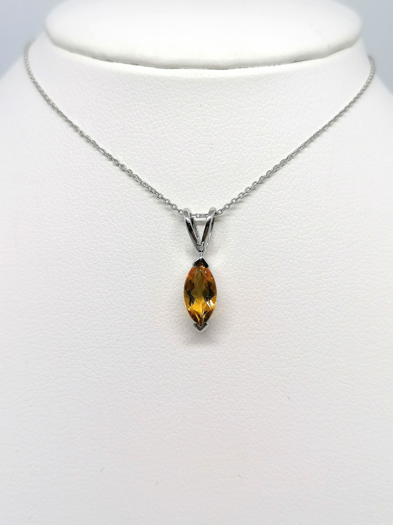 White Gold Handmade Citrine Pendant 0.72ct.