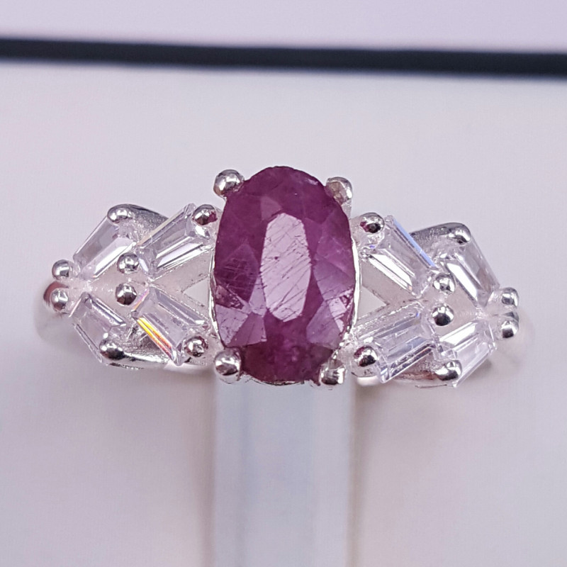 Natural Ruby and CZ Ring.