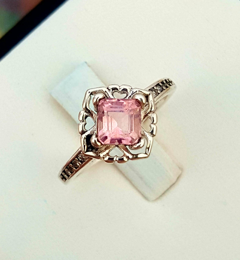 Natural Pink Tourmaline Ring.