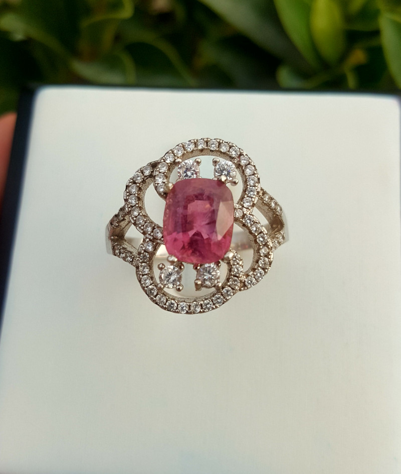 Natural Pink Tourmaline Ring with CZ.