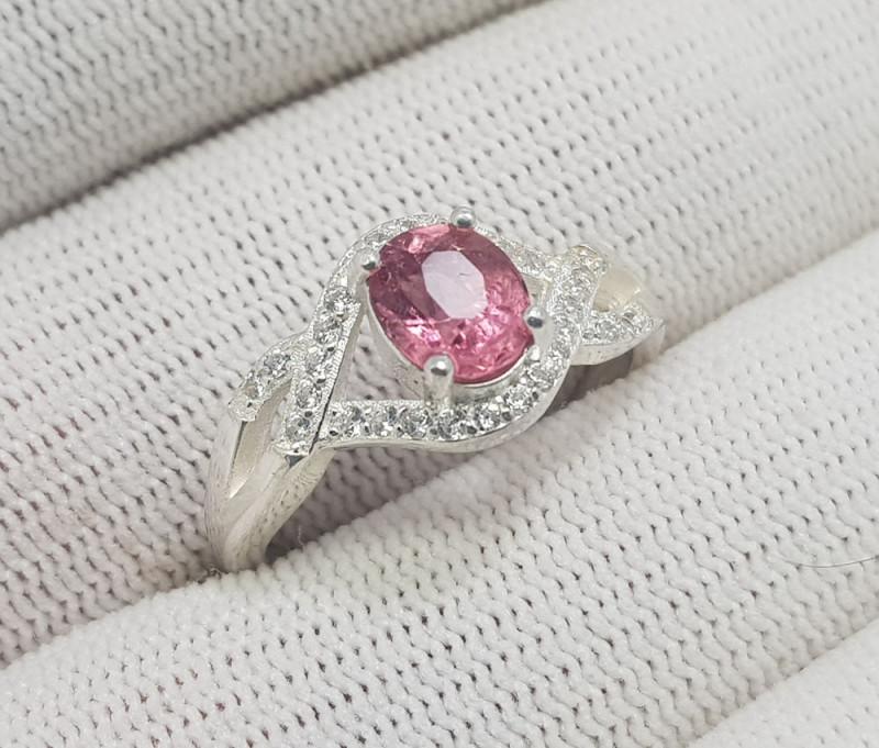 Natural Pink Tourmaline 16.35 Carats 925 Silver Ring I04