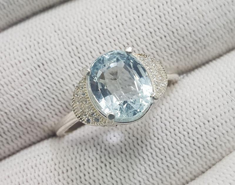 Natural Blue Aquamarine 16.75 Carats 925 Silver Ring N03