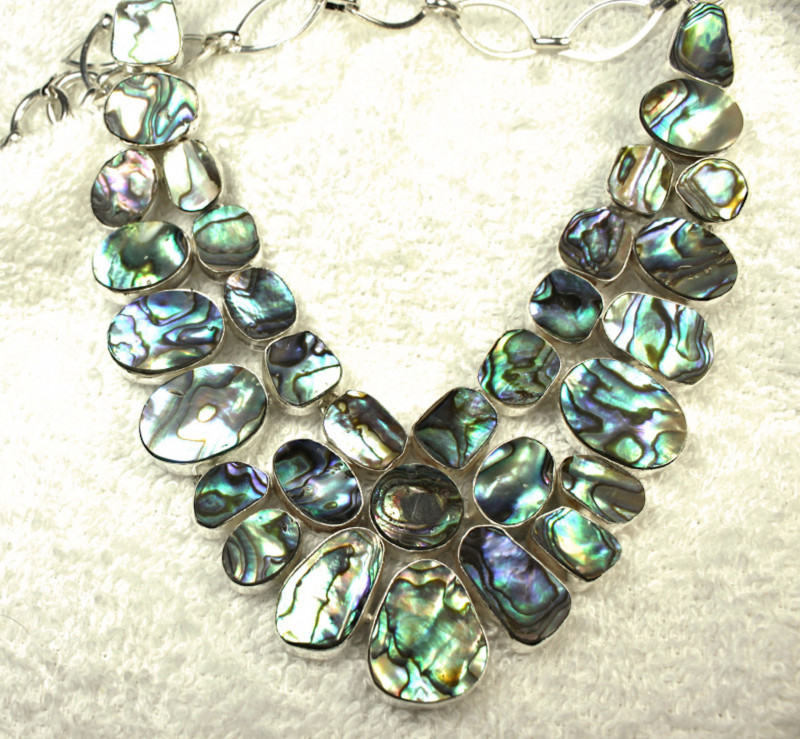 416.0 Abalone, Sterling Silver Necklace - Gorgeous