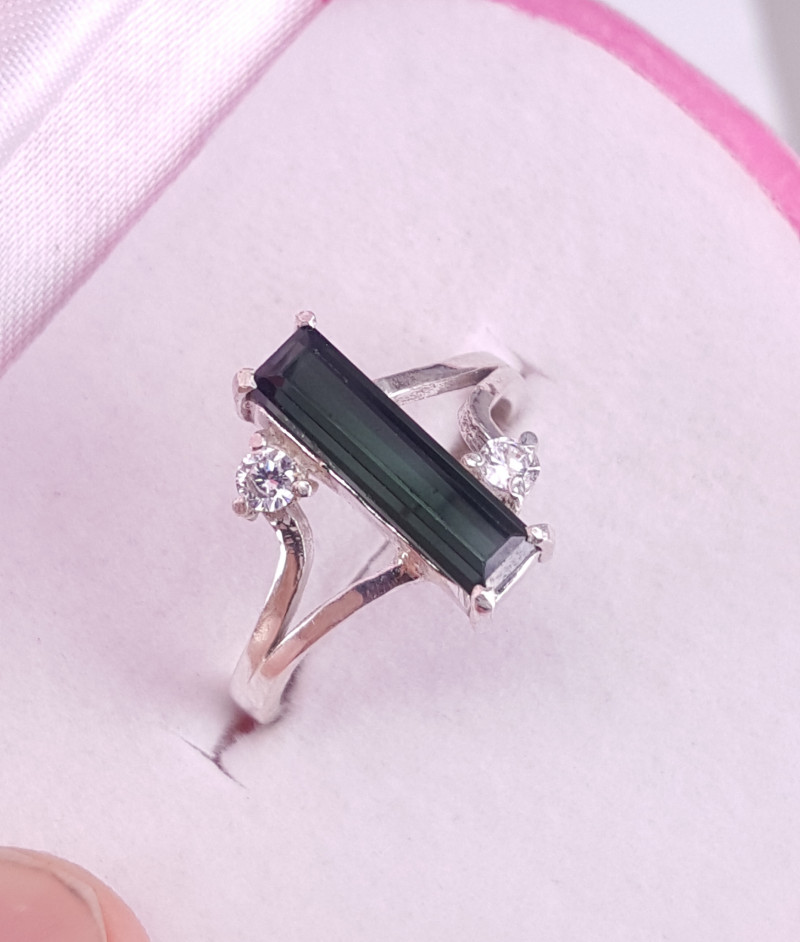 Natural Tourmaline Ring with CZ.