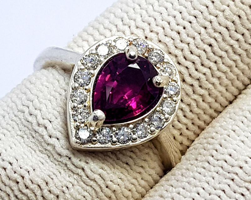 Natural Pink  Garnet CZ Ring 925 Sterling Silver