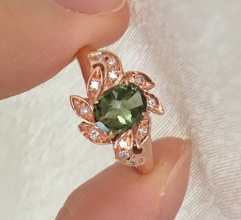 14K Rose Gold Authentic Green Moldavite Diamond Engagement Ring