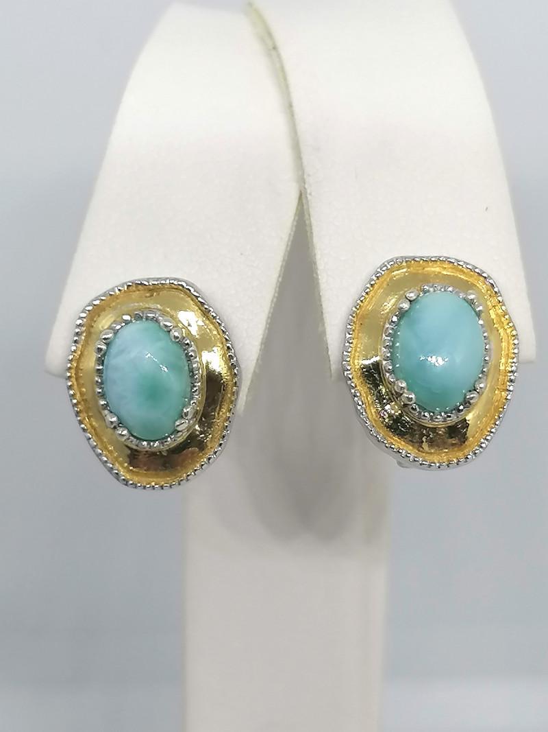 Natural Larimar Earrings 2.00 TCW