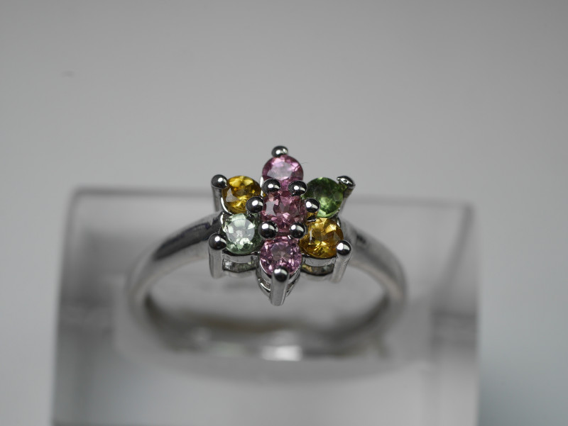 NATURAL TOURMALINE ROUND  SHAPE 92.5 SOLID SILVER RING SIZE ( 6.50 US )
