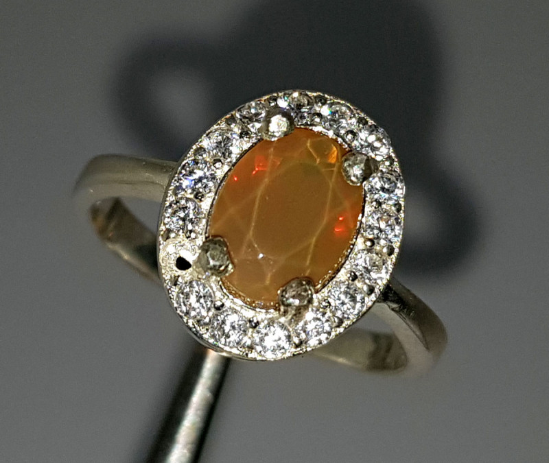 Natural Fire Opal CZ Ring 925 Sterling Silver