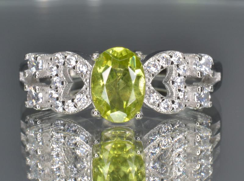 Natural Green Peridot 14.35 Cts CZ and  Silver Ring