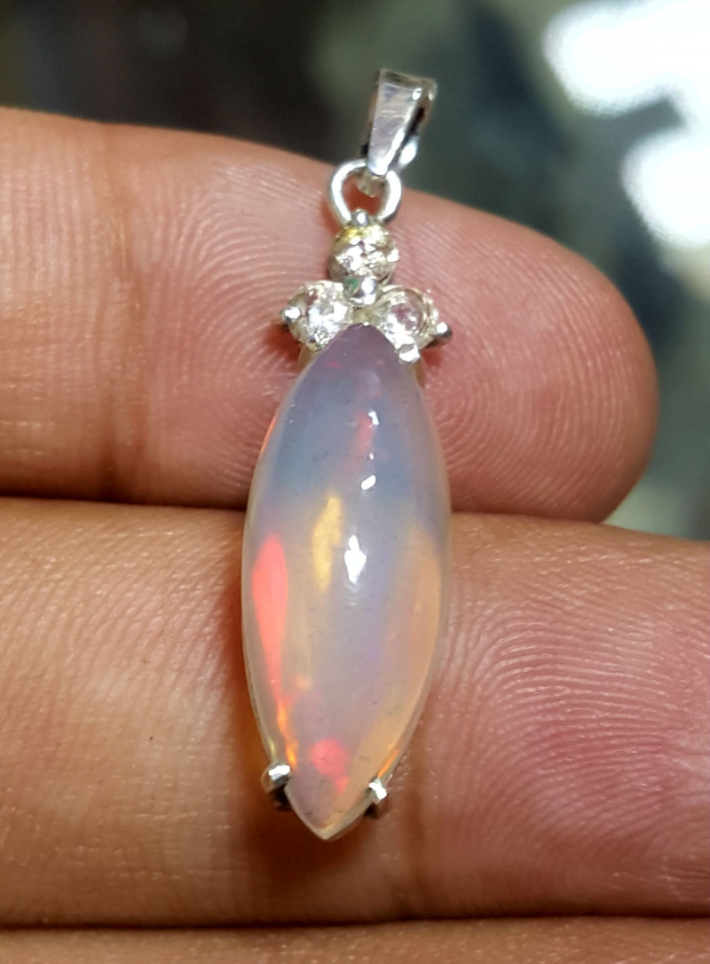Natural Welo Fire Opal and Sapphire  Pendent.