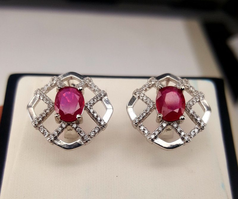 Natural Ruby and CZ Ear studs.