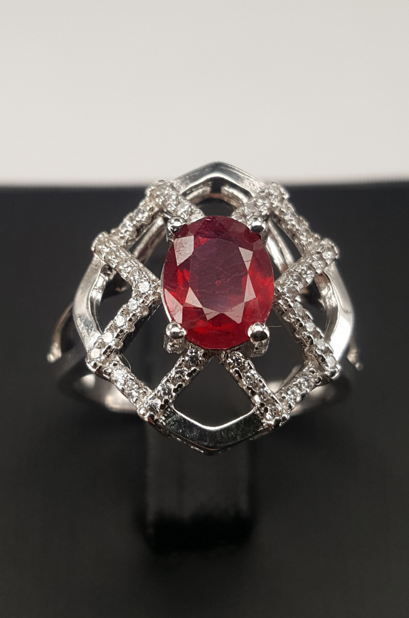 Natural ruby with CZ Ring.