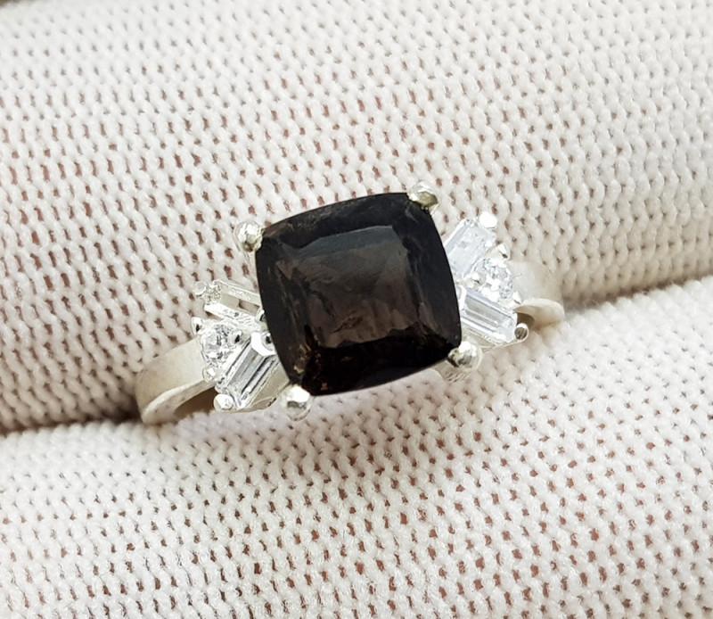 Natural Brown Axinite 15.90 Carats 925 Silver CZ Ring N51