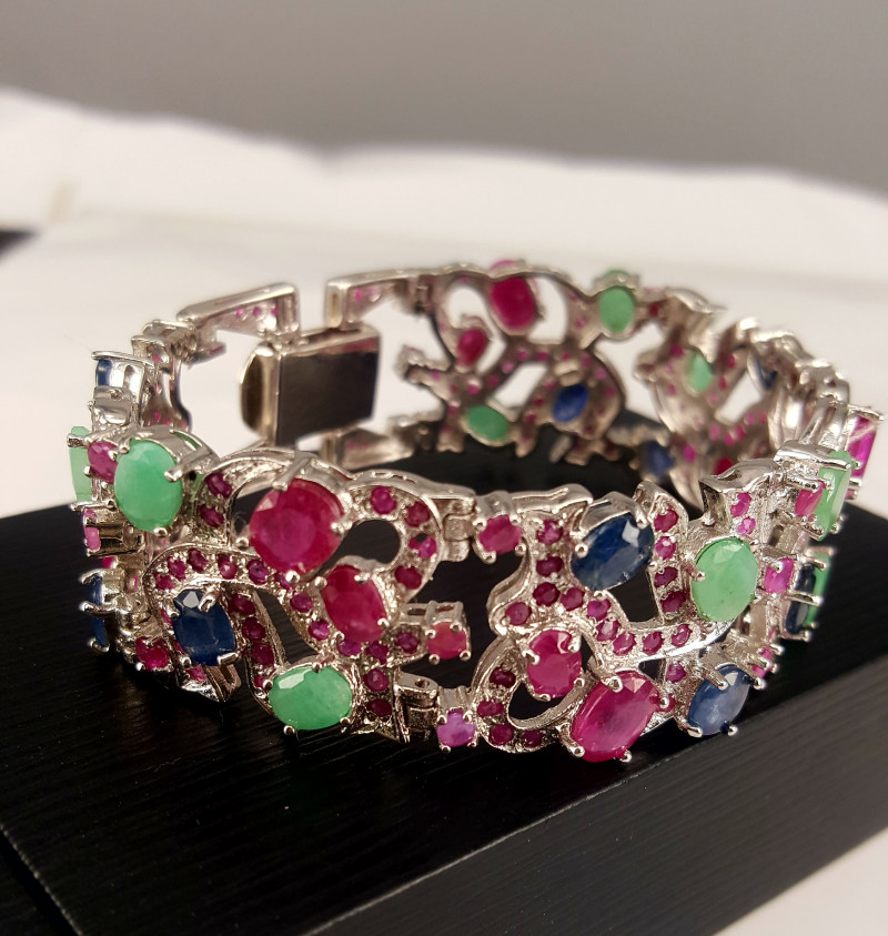 Natural emerald Ruby and Sapphire Bracelet.