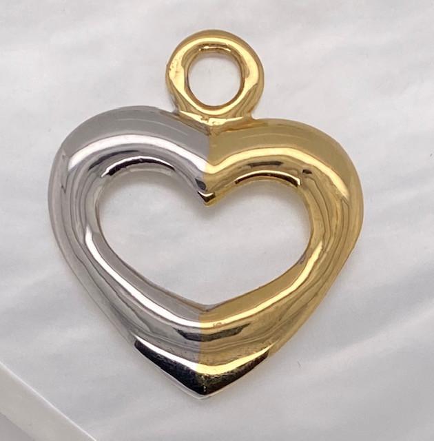 7.6 GRAMS 18 K GOLD RING FINDING POLISHED HEART PENDANT L291