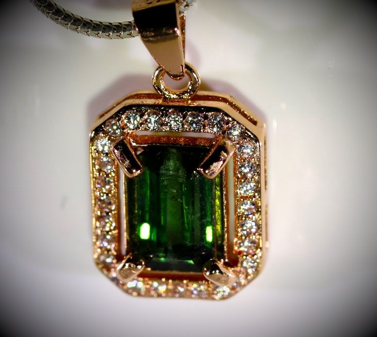 Green Tourmaline 1.00ct Rose Gold Finish Solid 925 Sterling Silver Pendant