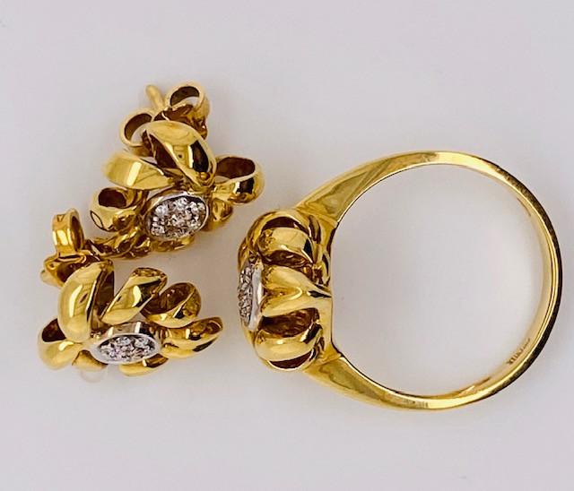 18K GOLD , BRILLIANT 21 x DIAMOND RING EARRING SET LGN 900