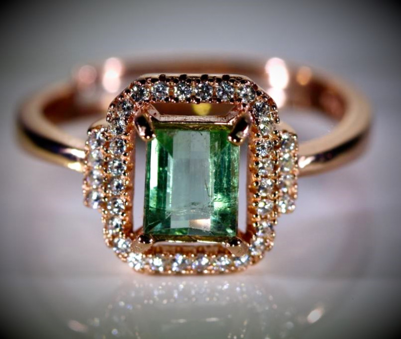 Mint Green Tourmaline 1.30ct Rose Gold Finish Solid 925 Sterling Silver Rin