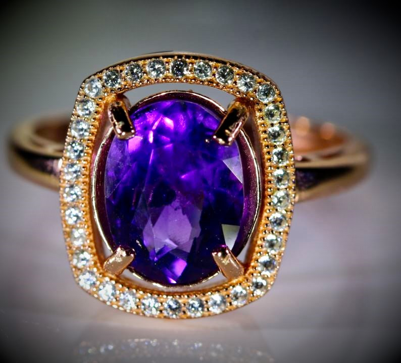 Amethyst 2.50ct Rose Gold Finish Solid 925 Sterling Silver Ring