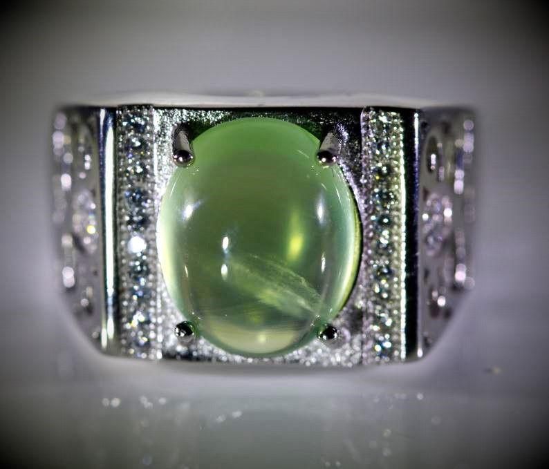 Prehnite 5.50ct White Gold Finish Solid 925 Sterling Silver Ring