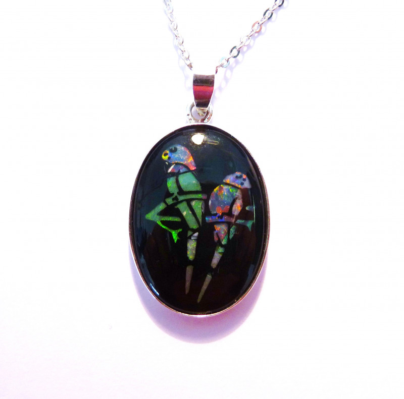 Hand Crafted Mosaic Australian Opal and Sterling Silver Pendant (z3537)