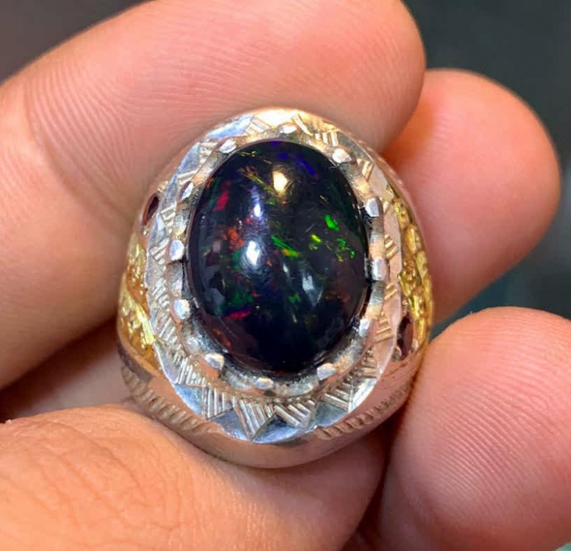 Natural Black Opal Men Ring.