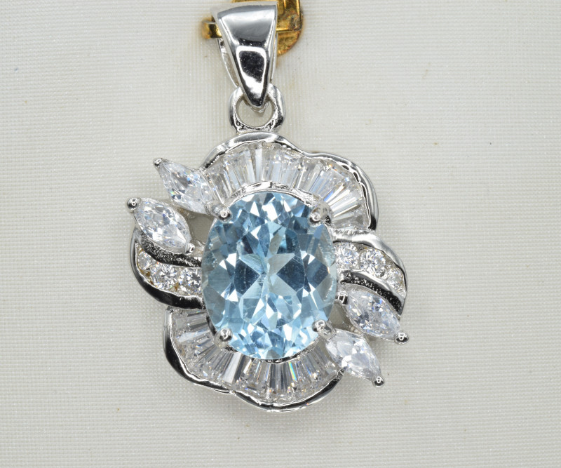 Natural Blue Topaz, CZ and 925 Silver Pendant