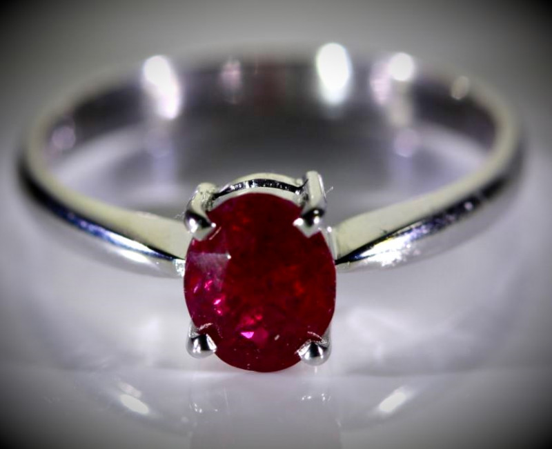 Winza Ruby 1.74ct Solid 18K White Gold Ring