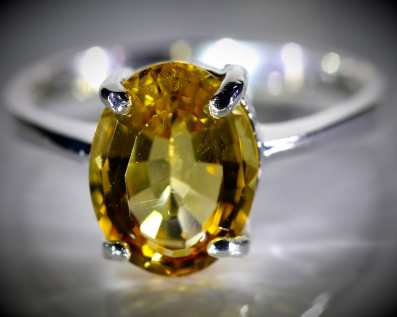 Citrine 4.10ct Platinum Finish Solid 925 Sterling Silver Ring
