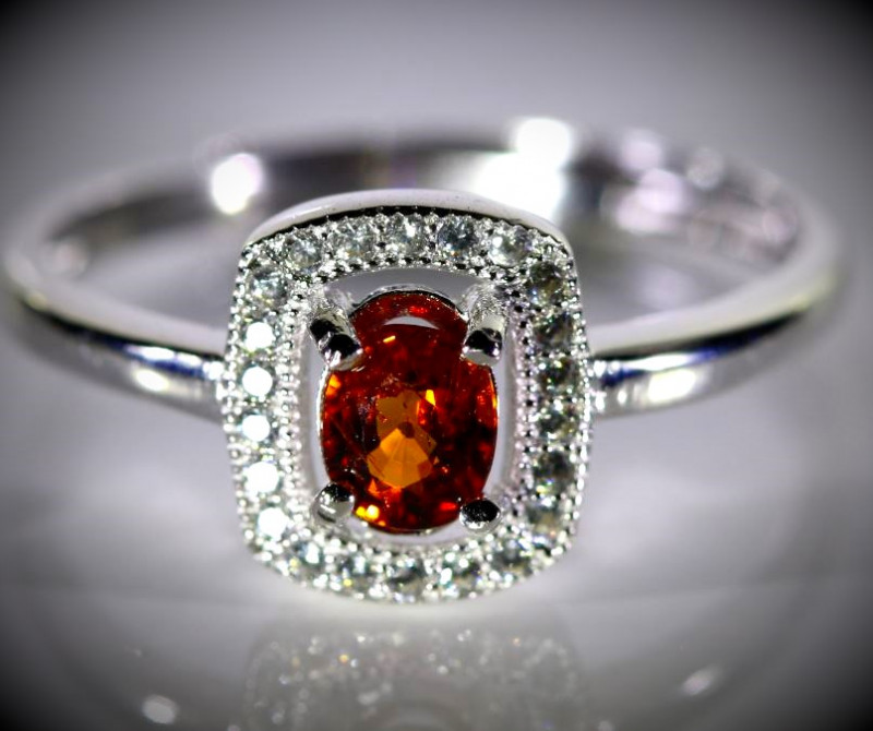 Spessartine .70ct White Gold Finish Solid 925 Sterling Silver Ring