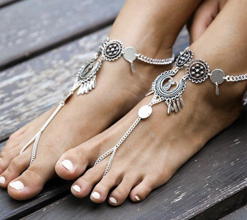 Lady Vintage Hollow Out Flower Teardrop Dangle Ankle Chain Beach Foot Jewel