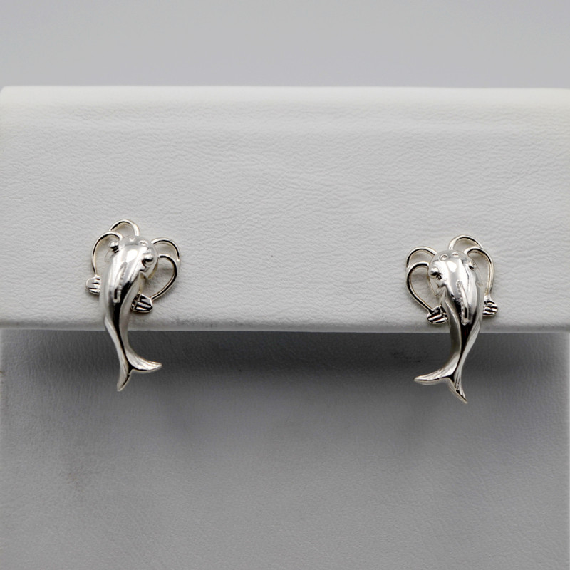 Catfish Earrings Handcrafted in Sterling Silver, Screw Backs
