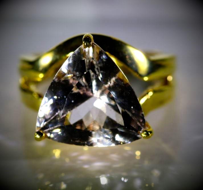 Morganite 9.02ct Solid 18K Yellow Gold Ring  8.40g