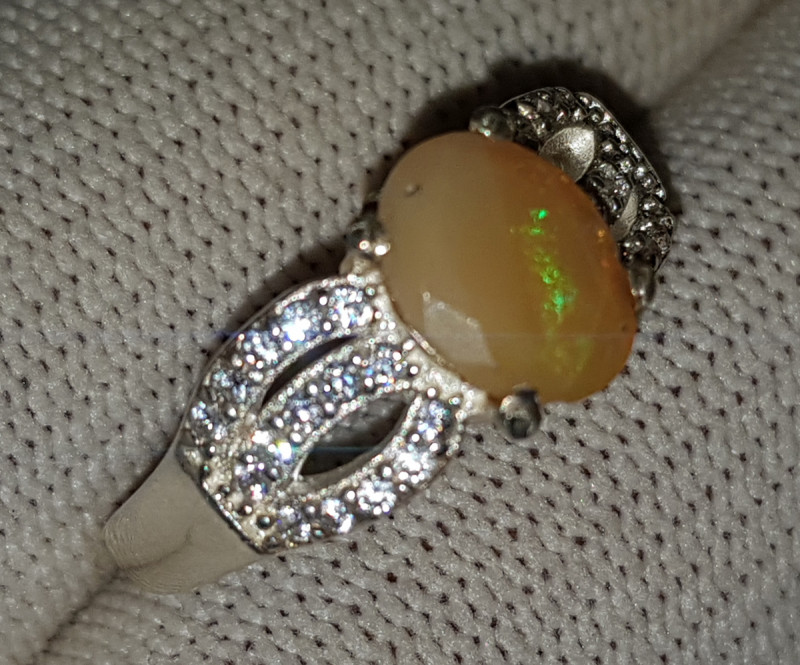 Natural Fire Opal Or Translucent Opal - 925 Sterling Silver Ring (ISSEP)