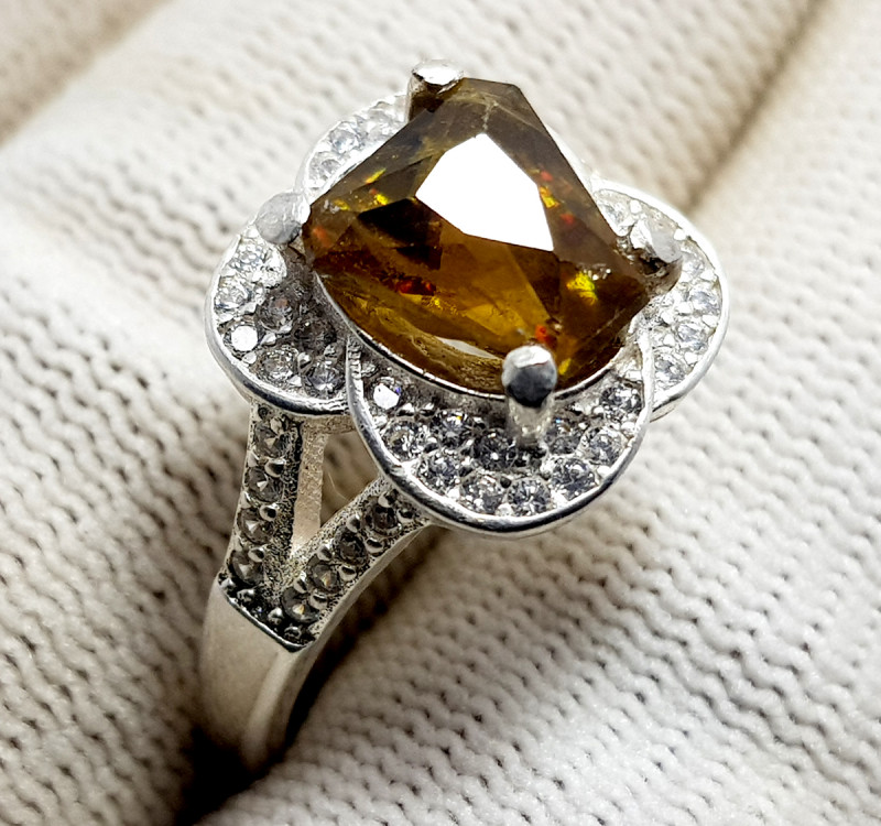 Natural Sphene (Titanite) CZ Ring 925 Sterling Silver