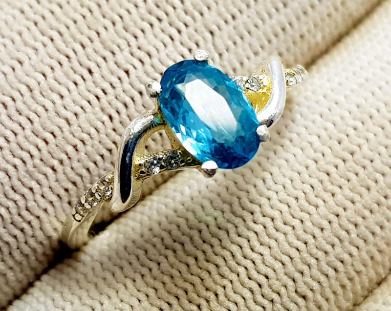 Natural Blue Zirkon Or Zircon (Zircon Starlite) - 925 Sterling Silver Ring